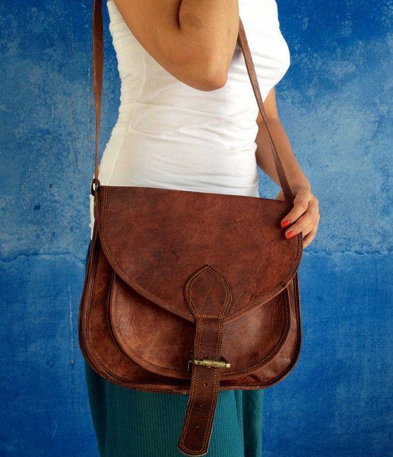 Leather sling bag $55 dark brown
