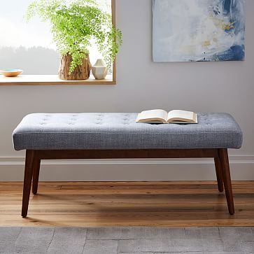 Mid-Century Upholstered Bench #westelm bench instead of coffee table...use as additional seating?