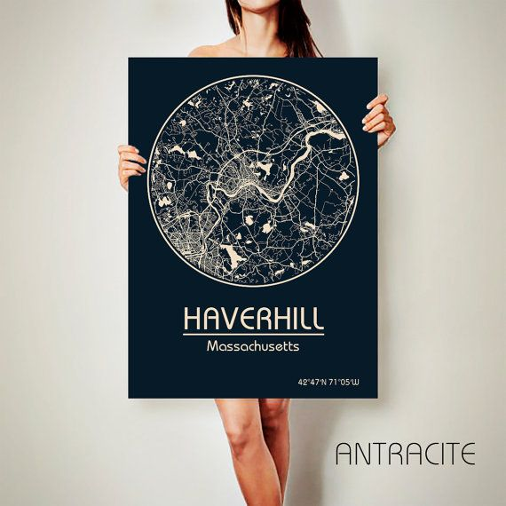 HAVERHILL Massachusetts CANVAS Map Haverhill by ArchTravel on Etsy