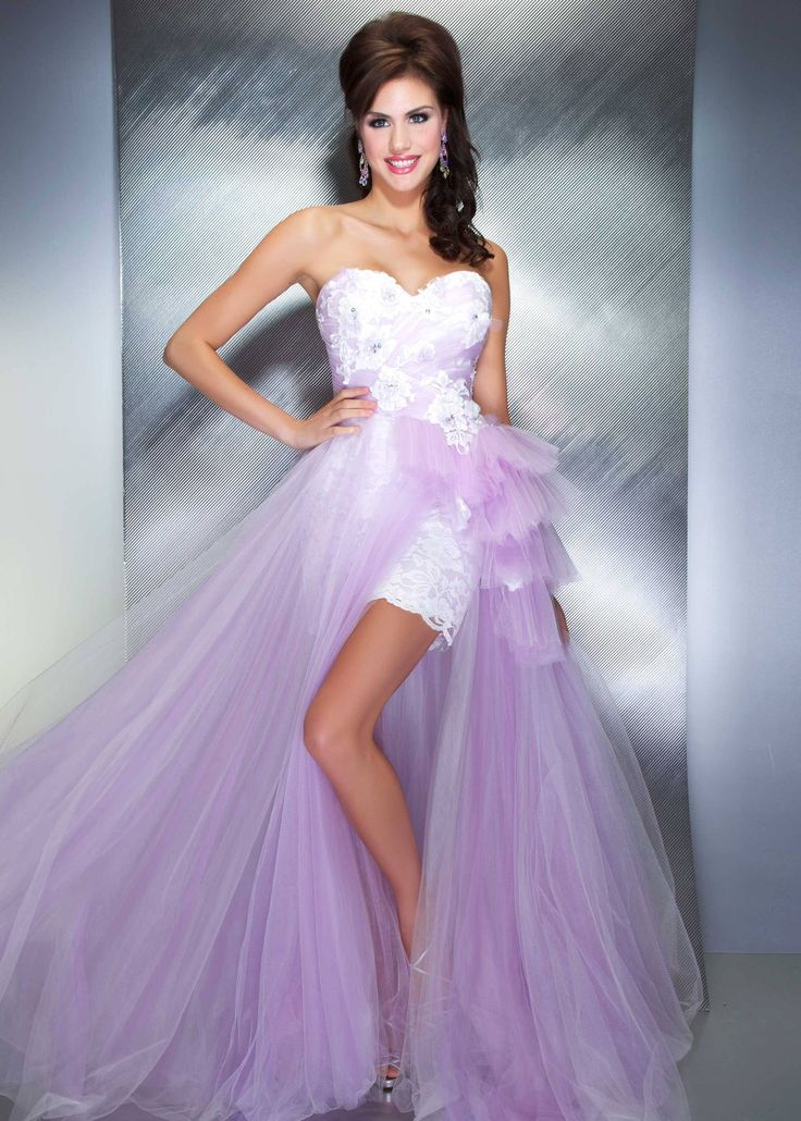 Mac Duggal 50067M - Gorgeous Lilac Lace Hi Lo Prom Dress worn by Miss America's Outstanding Teen Winner
