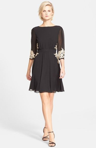 Christmas Party possibility...Ted Baker London Embroidered Fit & Flare Dress available at #Nordstrom