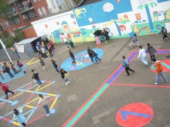 speelplaats beschilderen met romeinse spelen