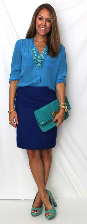 Shades of blue - medium blue blouse and cobalt skirt