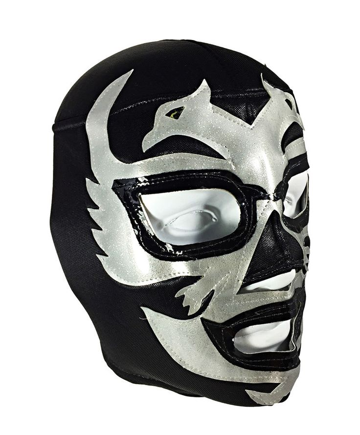 DOS CARAS (pro-fit) Adult Lucha Libre Wrestling Costume Mask - Black/Grey #MaskManiac