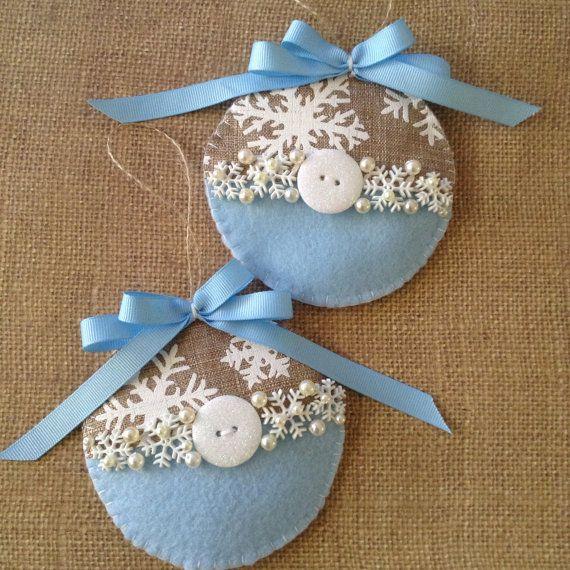 Christmas ornaments set of 2 burlap and felt by CraftsbyBeba