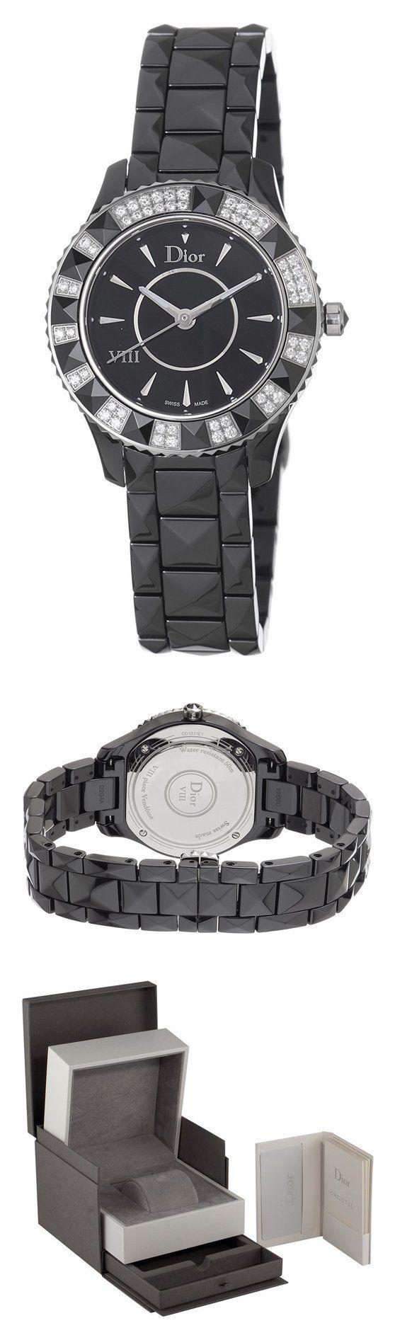 Christian Dior Women's CD1231E1C001 Black Eight Analog Display Swiss Quartz Black Watch #watch #christiandior #wrist_watches #watches #women #departments #shops