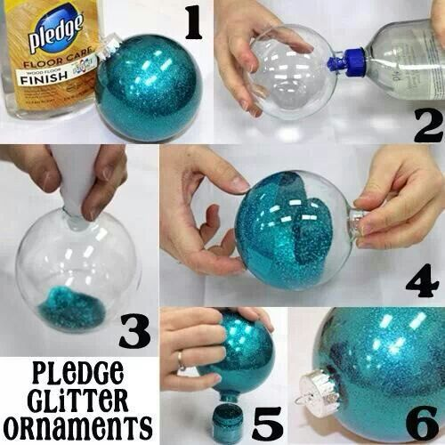 Pledge glitter ornaments!  LOVE these...think I will make some and use vinyl to personalize them for gifts!!                                                                                                                                                                                 More