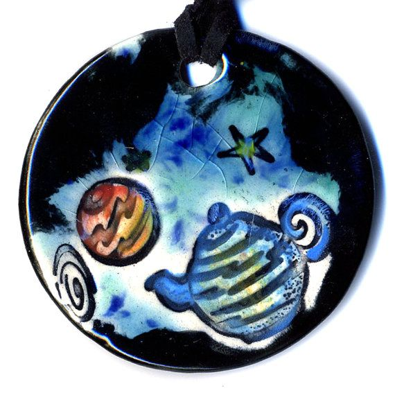 Russell's Teapot Ceramic Necklace in Black and Blue by surly, $20.00