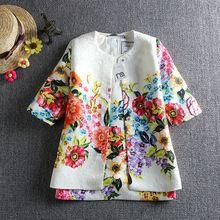 Детская одежда комплект детей девушка одежда 2015 девушки устанавливает марка цветочный добби дети костюм ( куртка + платье ) девушки комплектов одежды(China (Mainland))