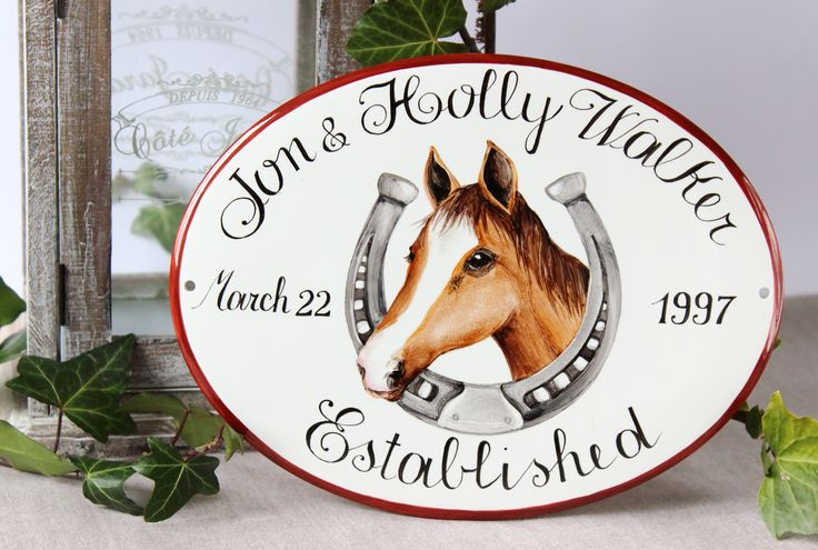 This is a House plaque hand painted on porcelain. It's personalized family sign that I painted for Holly and Jon for their anniversay.