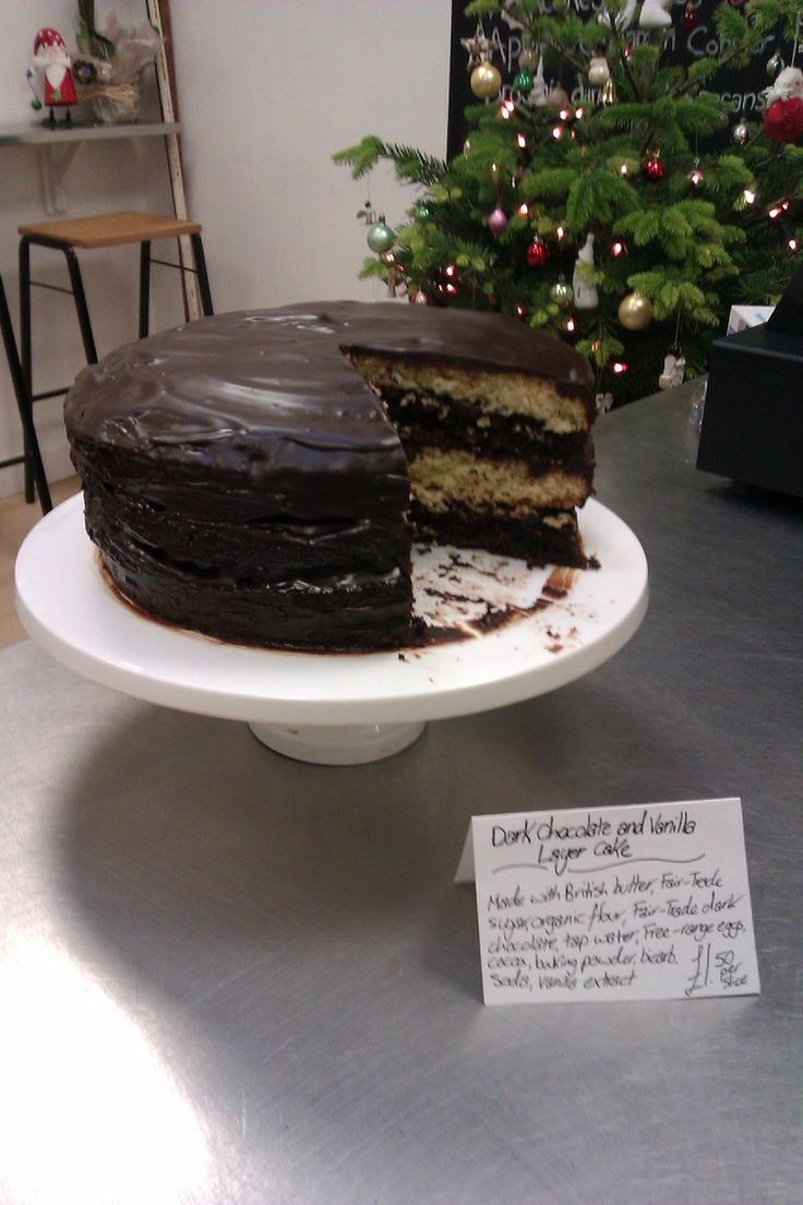 @SheafValley Find at Castle Market  Dark chocolate & vanilla layer cake with a crisp chocolate shel