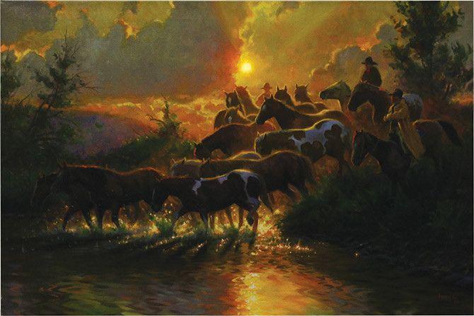 LED Art Herding Horses