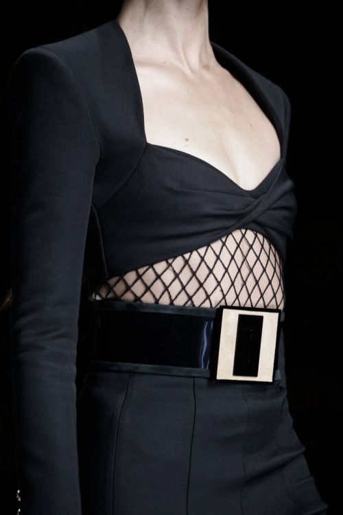 Black tailored crop top with fishnet panel; runway fashion details // Balmain Spring 2016