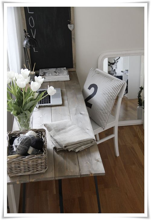 DIY wood desk - So easy,, plywood, paint or distress and buy IKEA legs! I know the slats are ($2.75 ea) at home depot, plus legs. So going to do this!!