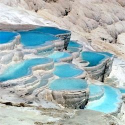 A few of the world's most incredible hot springs, including the limestone-laden thermal spring Pamukkale, in Turkey.