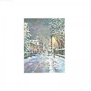 Iarna pe ulita - tablou pe sevalet