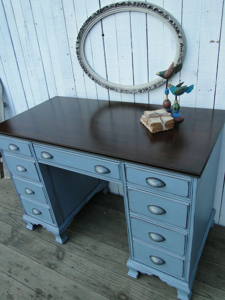 Icy Executive. A cool icy blue paired with a dark stained top and new cup pulls. Modern Vintage.