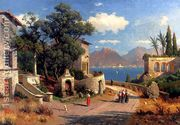 An Italian Village By A Lake  by Carl Gustav Rodde