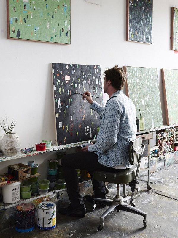 Artist Fred Fowler in his Footscray studio.  Photo – Eve Wilson for thedesignfiles.net http://amzn.to/2tmssiM