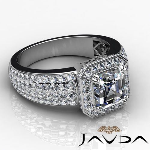 2-48-ct-Natural-Asscher-Diamond-Engagement-Halo-Pave-I-VS2-GIA-Ring-14k-W-Gold