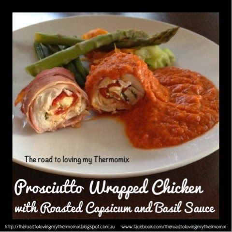 Thermomix Proscuitto Wrapped Chicken with Roasted Capsicum and Basil Sauce