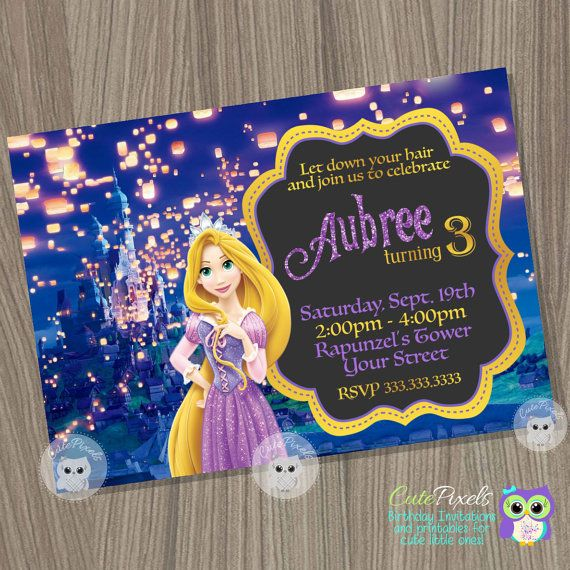 Rapunzel Invitation, Tangled Invitation, Tangled Birthday  Invitation, Rapunzel Birthday, Princess Invitation, Disney Princess  Birthday #invitation #rapunzel #princess