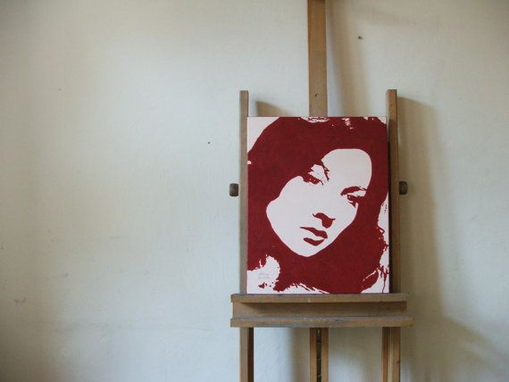 ORIGINAL ACRYLIC PAINTING on stretched canvas, Woman portrait, mid century actress, contemporary wall decor by Milena Gawlik