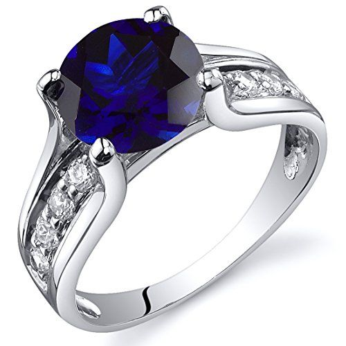 Created Sapphire Solitaire Style Ring Sterling Silver 2.75 Cararts Sizes 5 to 9
