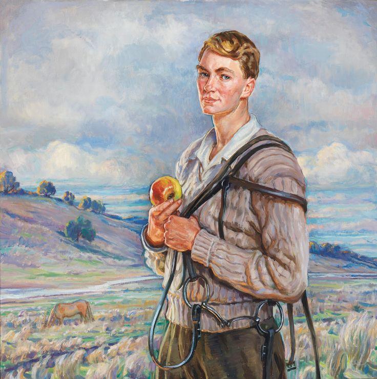 """Hilda Rix Nicholas 1949 """"Rix Catching the Horse"""""""