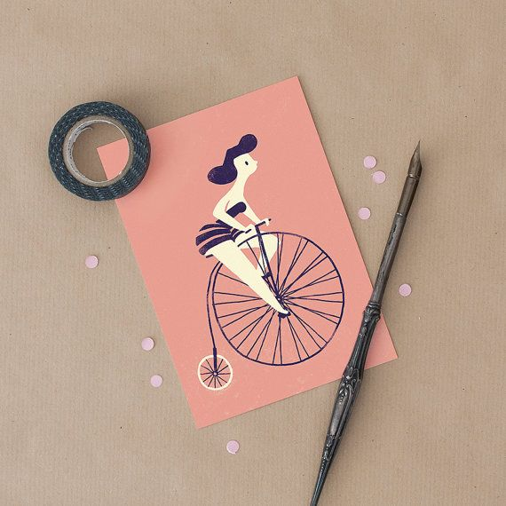 One postcard of a girl riding a vintage bicycle, with the option of including a brown (recycled kraft paper) envelope.  High-quality print on paper with a natural touch, archival and acid free so that it will not yellow with time. Measures 10x15cm (3.9x 5.9 inches).  Will be sent wrapped in a paper sleeve and inside cardboard packaging.  Fits inside standard photo frames. -------  also available as a giclee PRINT: https://www.etsy.com/listing/176287574/wheel-print-cu...