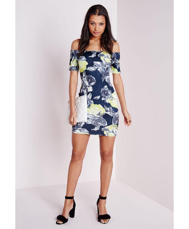 Scuba Bardot Bodycon Dress Navy Floral - Dresses - Bodycon Dresses - Missguided