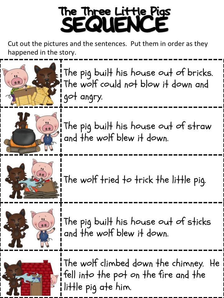 Sequencing activities are great for building language and literacy skills. Start with familiar stories to help build sequencing vocabulary (first, then).