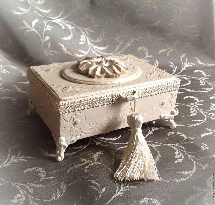 """Купить Свадебная шкатулка для колец """"lui et elle"""" - белый, бежевый, молочный, айвори"""