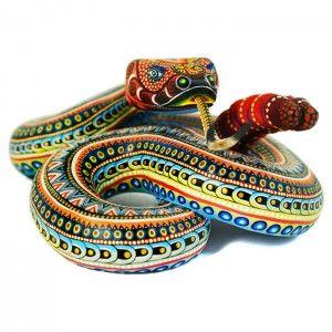 Manuel Cruz: Rattlesnake - Oaxacan carving