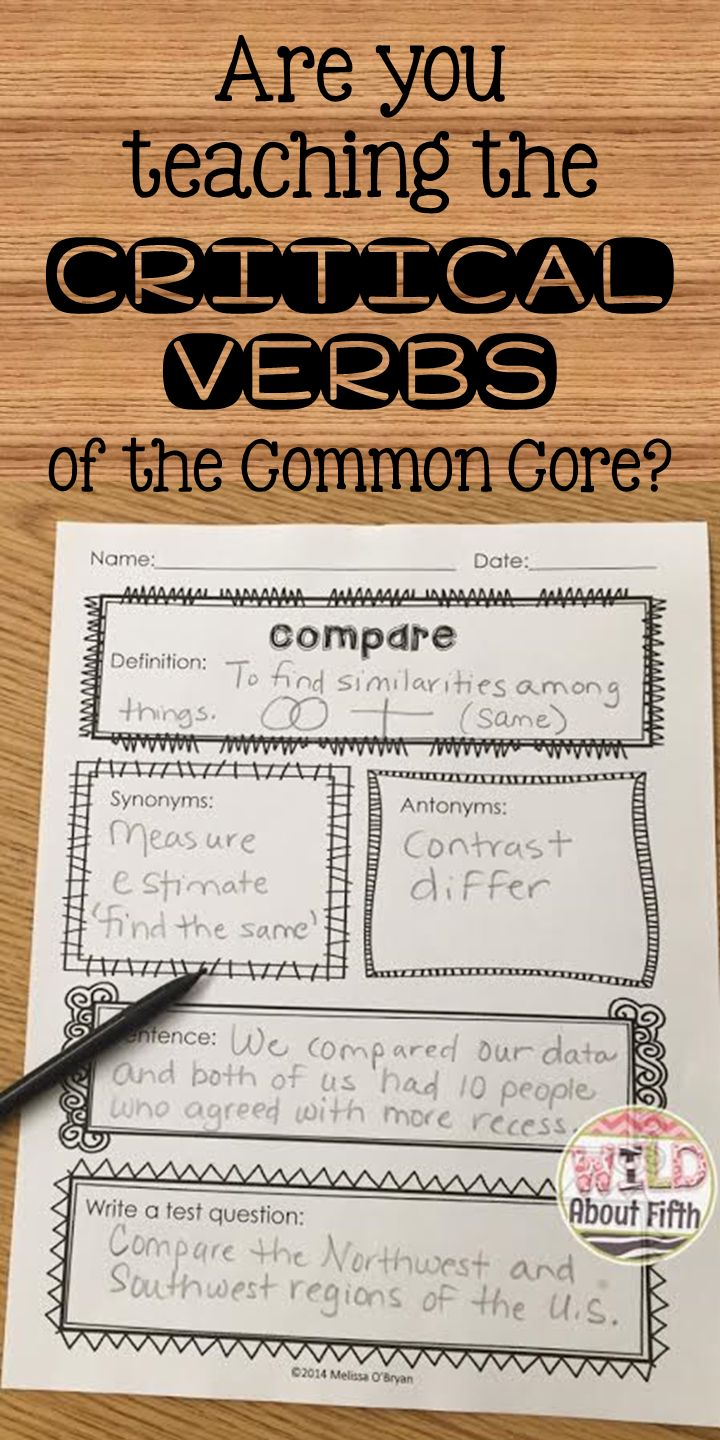 Are your students struggling with understanding the Critical Verbs in the Common Core Standards? These verbs are tricky and students cannot perform well on THE TEST if they do not know what the questions are asking them to do!!!  You must expose your students to these critical academic vocabulary words. And what better way to do that then to teach each word deliberately and then post for students to reference all year long! #wildaboutfifthgrade