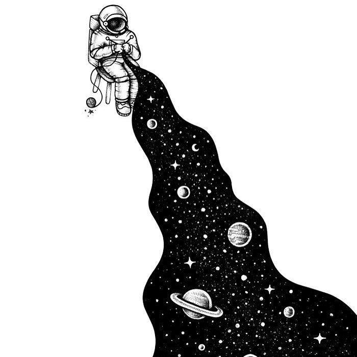 Illustration by @buko2⠀ #ohhdeer #universe #knit #astronaut #illustration #creative #art #instaart