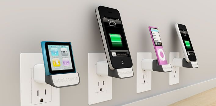 blueLounge miniDock - docks your iPhone/iPod into the wall instead of dangling it at the end of a cable.
