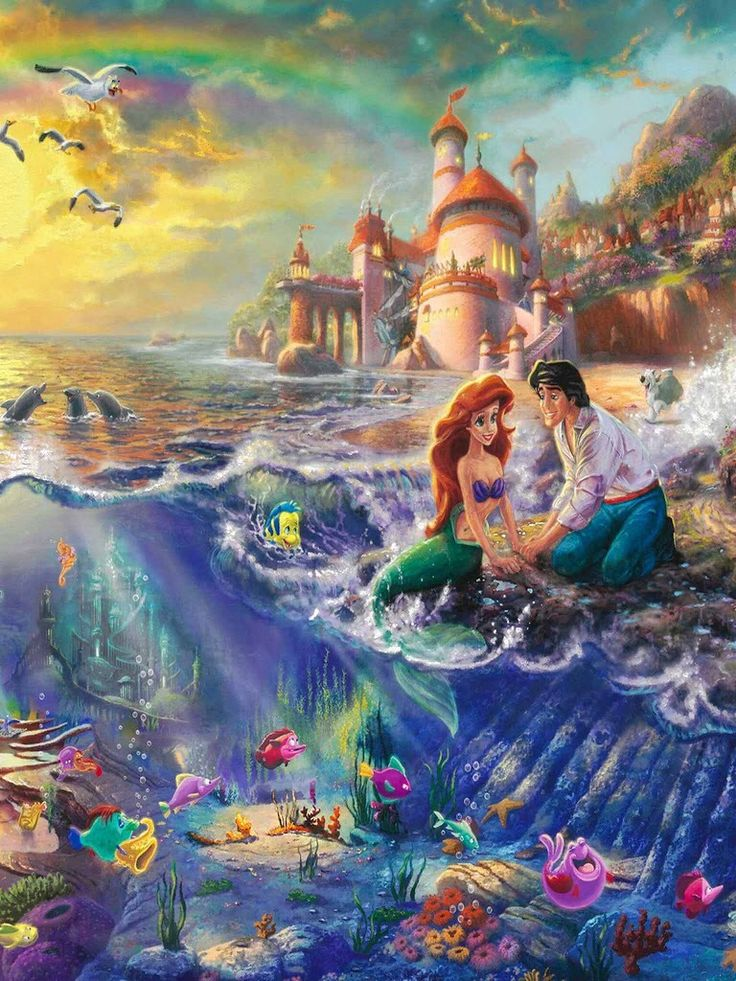 Disney characters - Little mermaid and the prince. A wonderful love story for kids of all ages. #colours #surreal #sea #ocean #love #romance #impossible #king #fish #imagine