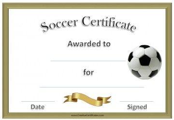 soccer certificate