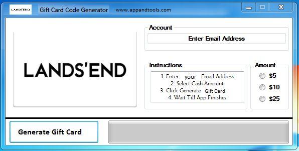 Lands' End Gift Card Generator   Gift Cards   Pinterest   Generators