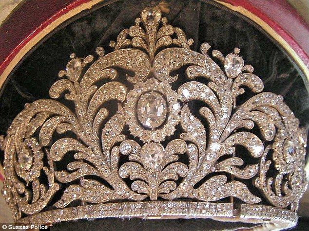 Police are now working with dealers and those with specialist knowledge to try and trace the goods. A £400,000 tiara was also stolen (pictured)