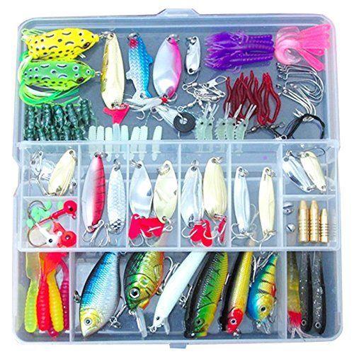 Leurres de peche – SODIAL(R)100 Peche Appats Leurres Spinners Plugs Cuiller mous Salmon Trout Pike + Box Set: * SODIAL est une marque…
