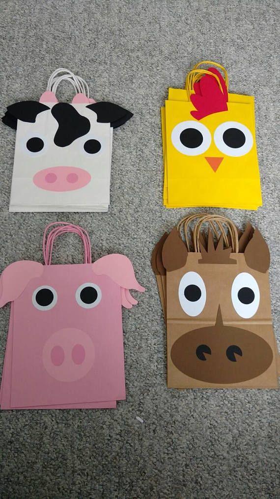 Conjunto de 12 granja animales cumpleaños botín bolsas /