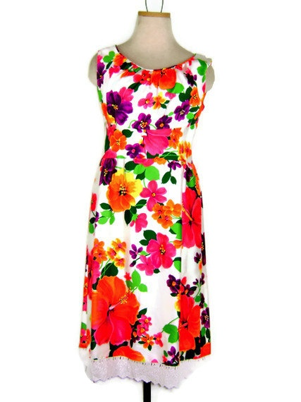 1970s Hawaiian Floral Sundress  Beautiful Neon by ragsfeathers, $48.00