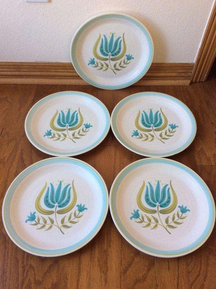 "Vtg Franciscan Tulip Time 10.75"" Dinner Plates Lot of 5 Blue Flower Midcentury  #Franciscan #MidCenturyModern"