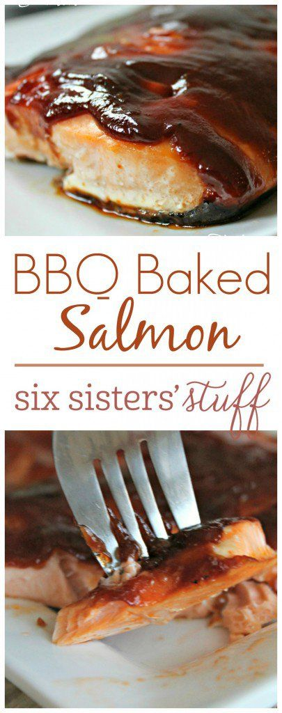 BBQ Baked Salmon | This quick dinner just takes 3 ingredients, 3 minutes to throw together, and 20 minutes to bake. So easy, so healthy, and you'll love the flavor!