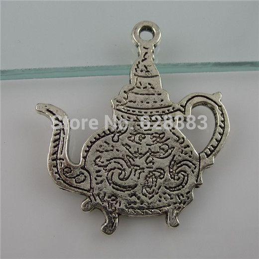 ( 6 шт. / lot ) 11841 винтажный серебро тон сплав подарок du maroc чай чайник кулон