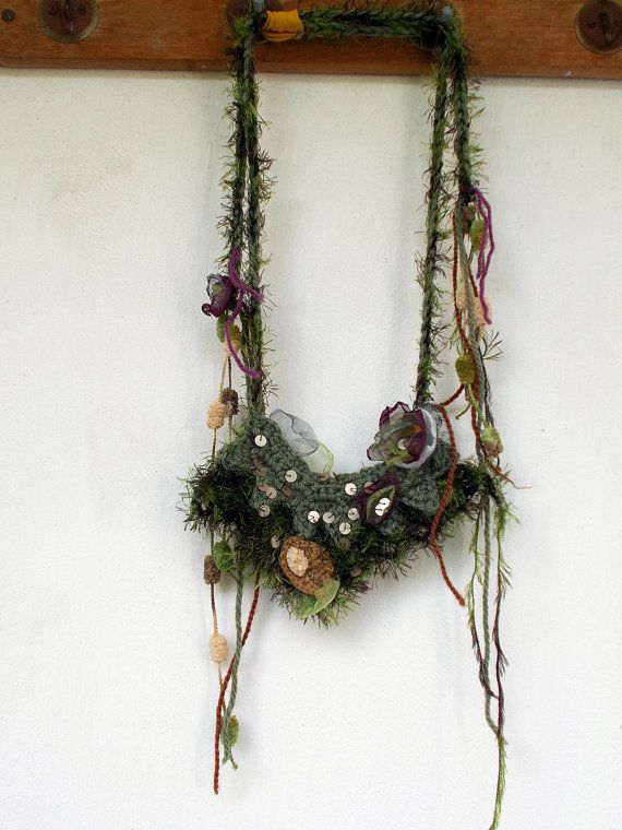 Mori girl necklace,Mixed media necklace,Art neckpiece,Shabby Chic chocker,Eco necklace,Gipsy bib collar, sequins,crochet necklace,by Zestria