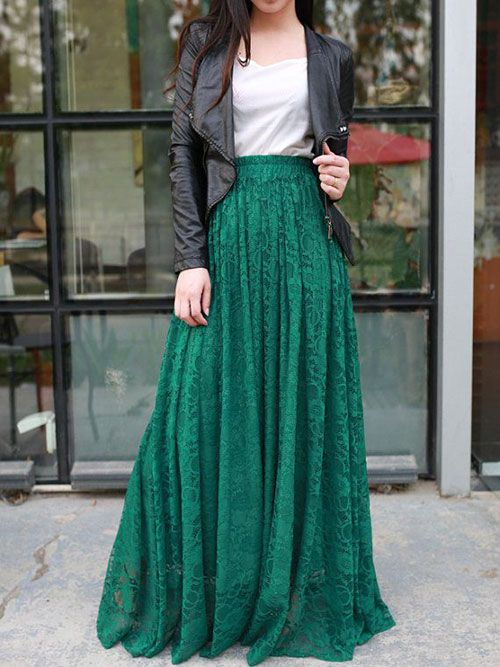 Green maxi Skirt + Black Leather Jacket