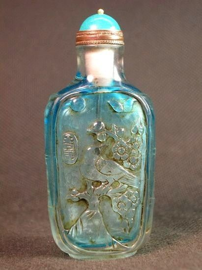 Chinese Peking Glass Snuff Bottle, Blue Birds & Blossoms, Signed.